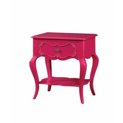 Hagberg Beautiful 1 Drawer Nightstand Color: Pink