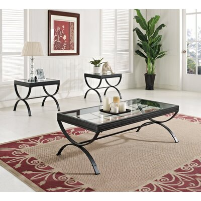 Fortner Glass Coffee Table Set Table base color: Black