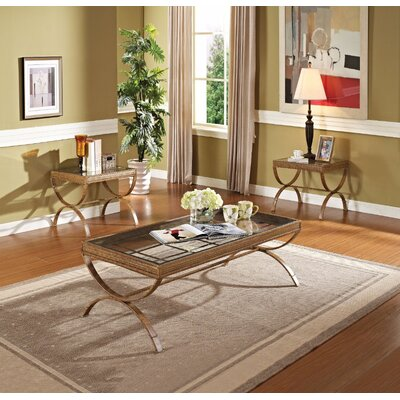 Fortner Glass Coffee Table Set Table base color: Gold