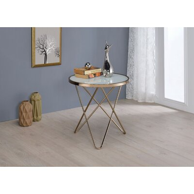 Brockman Frosted Glass and Champagne End Table Table Top Color: White