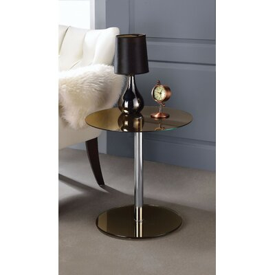Crowther Glass and Chrome End Table Table Top Color: Brown