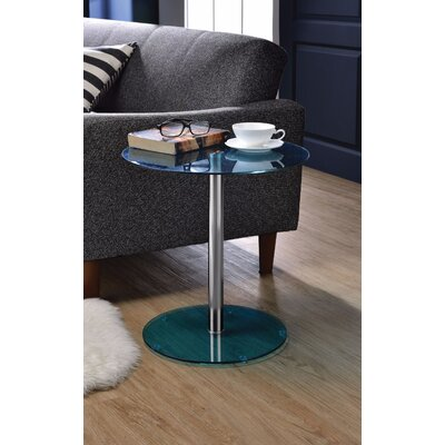 Crowther Glass and Chrome End Table Table Top Color: Blue