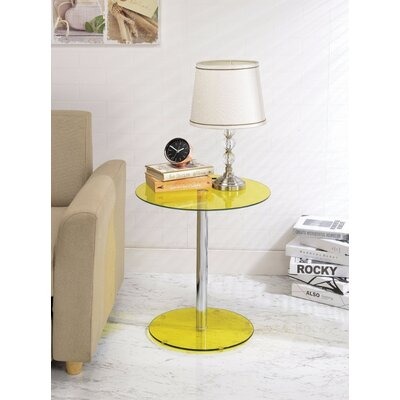 Crowther Glass and Chrome End Table Table Top Color: Yellow