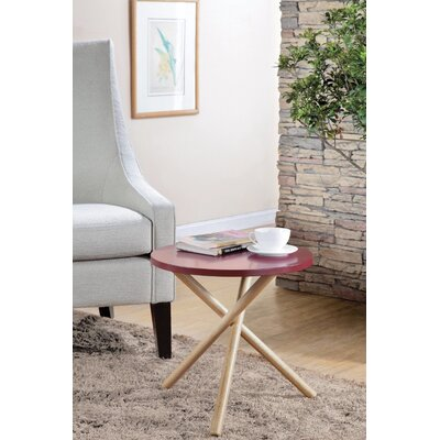 Wight Natural Round End Table Table Top Color: Red