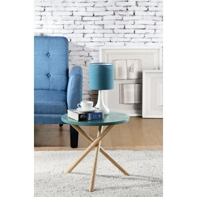 Wight Natural Round End Table Table Top Color: Blue