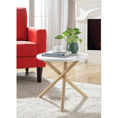 Wight Natural Round End Table Table Top Color: White