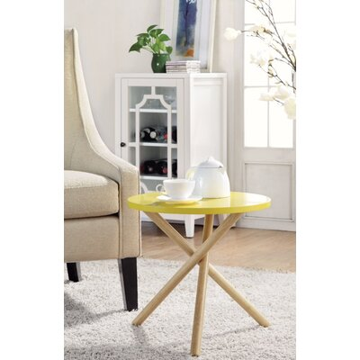 Wight Natural Round End Table Table Top Color: Yellow