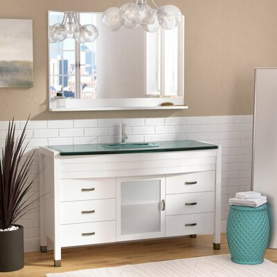 Carstarphen 55 Single Bathroom Vanity Set with Clear Top and Mirror Base Finish: White, Faucet Finish: Brushed Nickel