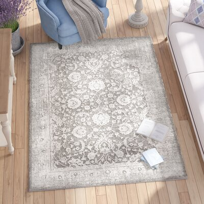 Tilleul Oriental Vintage Persian Distressed Gray Area Rug Rug Size: Rectangle 53 x 76