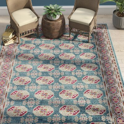 Riggs Teal Area Rug Rug Size: 76 x 96