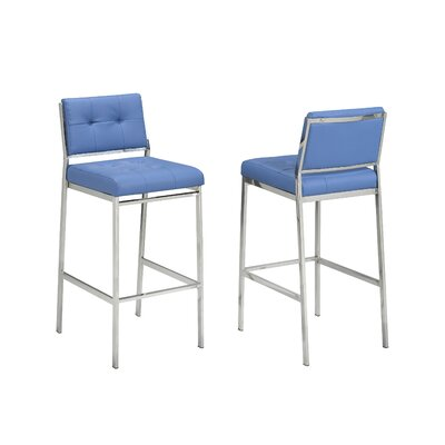 Hagedorn 29 Bar Stool Upholstery: Blue