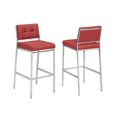 Hagedorn 29 Bar Stool Upholstery: Red