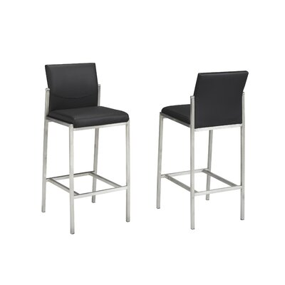 Hager 29 Bar Stool Upholstery: Black