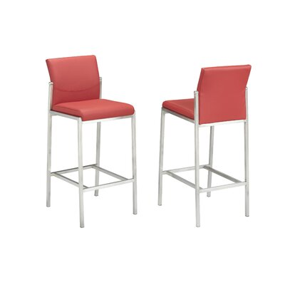 Hager 29 Bar Stool Upholstery: Red