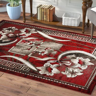 Rosemarie Floweret Red Area Rug Rug Size: 5 x 7