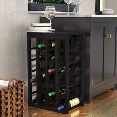 Karnes Pine 24 Bottle Floor Wine Rack Finish: Black