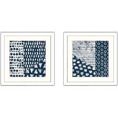 'Mark Making Tile III' 2 Piece Framed Acrylic Painting Print Set