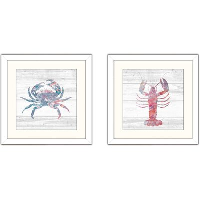 'Ocean Life I' 2 Piece Framed Watercolor Painting Print Set