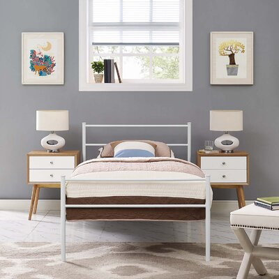 Donnellan Queen Platform Bed Color: White, Size: Twin