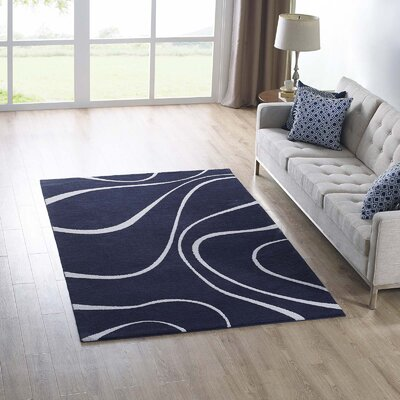 Winvian Abstract Swirl Navy/Ivory Area Rug Rug Size: Rectangle 5 x 8