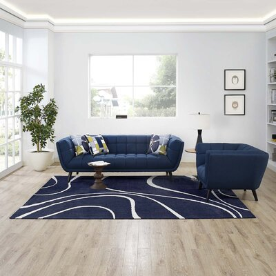 Winvian Abstract Swirl Navy/Ivory Area Rug Rug Size: Rectangle 8 x 10