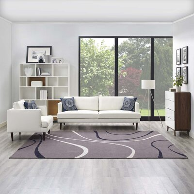 Winvian Abstract Swirl Charcoal/Black/Ivory Area Rug Rug Size: Rectangle 8 x 10