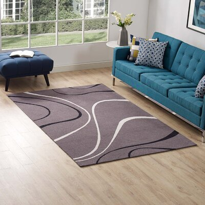 Winvian Abstract Swirl Charcoal/Black/Ivory Area Rug Rug Size: Rectangle 5 x 8