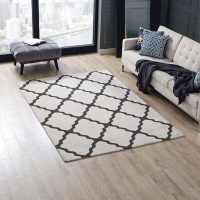 Tylersburg Moroccan Trellis Ivory/Charcoal Area Rug Rug Size: Rectangle 5 x 8
