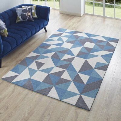 Witherell Geometric Triangle Mosaic Blue/White/Gray Area Rug Rug Size: Rectangle 5 x 8