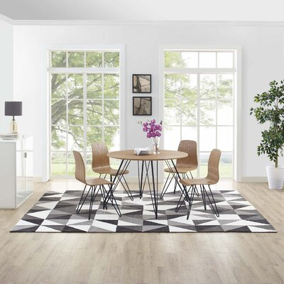 Witherell Geometric Triangle Mosaic Black/Gray/White Area Rug Rug Size: Rectangle 8 x 10
