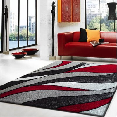 Sangiacomo Hand-Tufted Gray/Red Area Rug