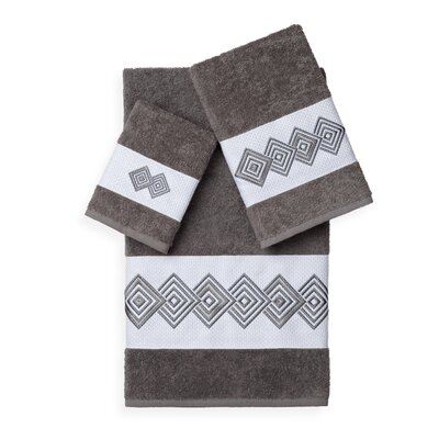 Byron 3 Piece Towel Set Color: Dark Grey
