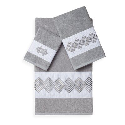 Byron 3 Piece Towel Set Color: Light Grey