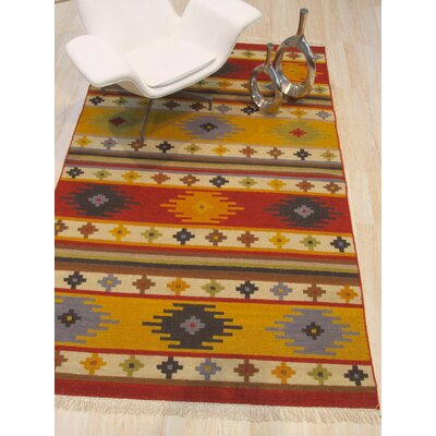 Clocher Hand-Woven Wool Red/Yellow Area Rug Rug Size: Rectangle 8 x 10