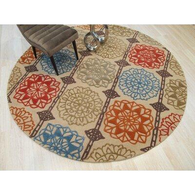 Corben Hand-Tufted Wool Beige Area Rug Rug Size: Round 79