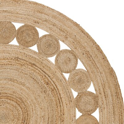 Mindy Hand-Woven Natural Area Rug Rug Size: Round 8