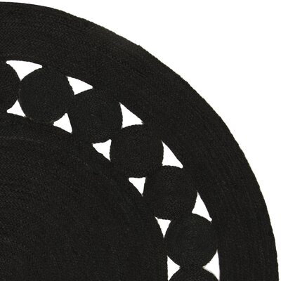 Johna Hand-Woven Black Area Rug Rug Size: Round 5