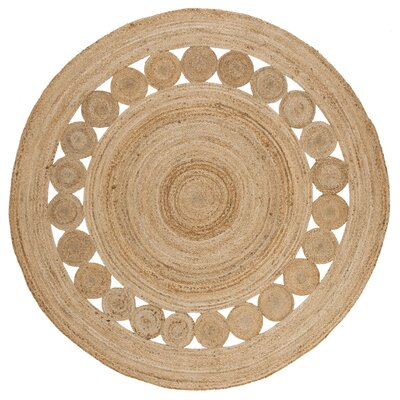 Mindy Hand-Woven Natural Area Rug Rug Size: Round 3