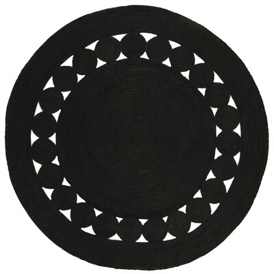 Johna Hand-Woven Black Area Rug Rug Size: Round 3