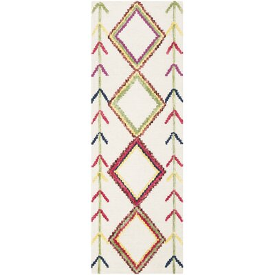 Juney Hand-Tufted Wool Ivory Area Rug Rug Size: Runner 23 x 7