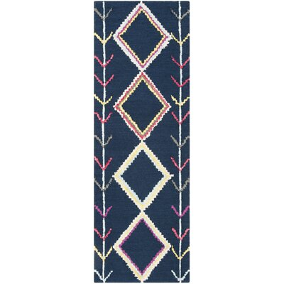 Juney Hand-Tufted Wool Navy Area Rug Rug Size: Runner 23 x 7