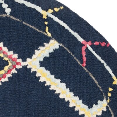 Juney Hand-Tufted Wool Navy Area Rug Rug Size: Round 5