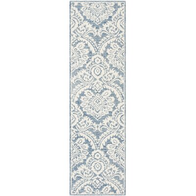 Leedy Hand-Tufted Wool Blue/Ivory Area Rug Rug Size: Runner 2'3