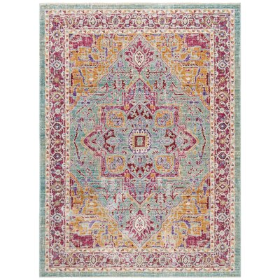 Justine Aqua Area Rug Rug Size: Rectangle 8 x 10