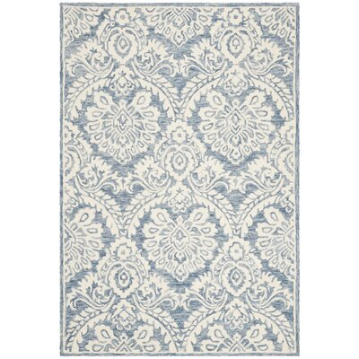 Leedy Hand-Tufted Wool Blue/Ivory Area Rug Rug Size: Square 6