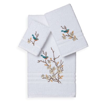 Hacking 3 Piece Towel Set Color: White