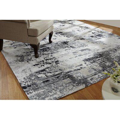 Shondra Hand-Knotted Cotton Gray Area Rug Rug Size: Rectangle 56 x 86