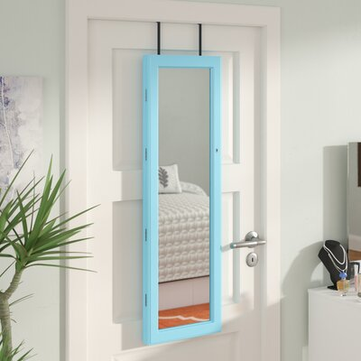 Aubrianna Over The Door Jewelry Armoire with Mirror Finish: Turquoise