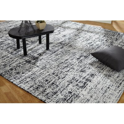 Shirl Hand-Knotted Cotton Charcoal�Area Rug Rug Size: Runner 26 x 10