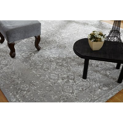 Ike Hand Knotted Cotton Gray Area Rug Rug Size: Rectangle 56 x 86